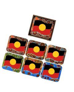 Coaster Wood Set Of 6 Rectangle Aboriginal Flag Wavy 60,000+ Years