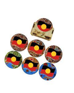 Coaster Wood Set Of 6 Round Aboriginal Flag Wavy 60,000+ Years 9cm