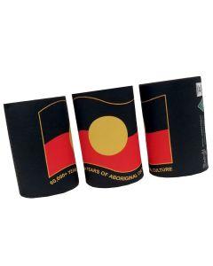 Drink Cooler 5mm Neoprene Aboriginal Flag Wavy 60,000+ Years 75x110mm