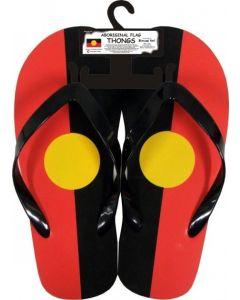 Rubber Aboriginal Flag Thongs Large Sizes 10-12