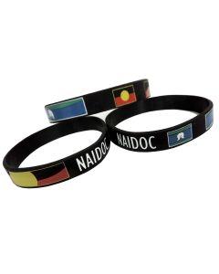 Wristband Silicone Aboriginal Flag NAIDOC 12mm W